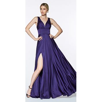 Cinderella Divine 7469 Sexy Long Prom Dress Purple Evening Satin Gown
