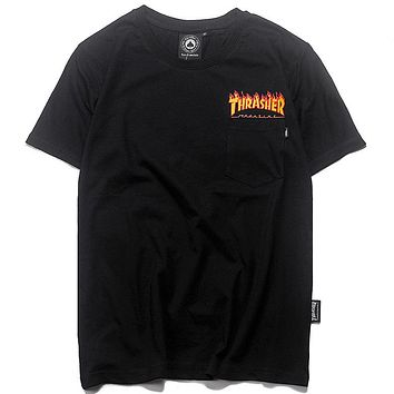Trendsetter Thrasher X Vans Women Men Fashion Casual Shirt Top Tee