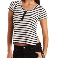 Black Combo Striped High-Low Henley Tee by Charlotte Russe
