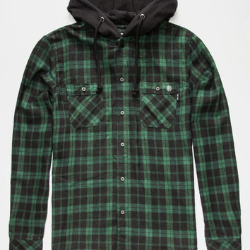 Key Street Aspen Mens Hooded Flannel Shirt Forest  In Sizes