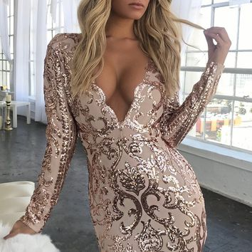 Glisten Up Gold Metallic Swirl Long Sleeve Plunge V Neck Asymmetric Hem Bodycon Mini Dress