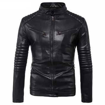 Punk Style Motorcycle Jacket Mens Black Leather Jacket Male Autumn Winter Fashion Casual Slim Fit Jackets Coats