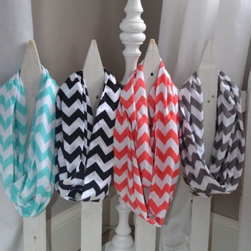 Chevron Infinity Jersey Knit Scarves Coral,Black,Aqua,and Grey