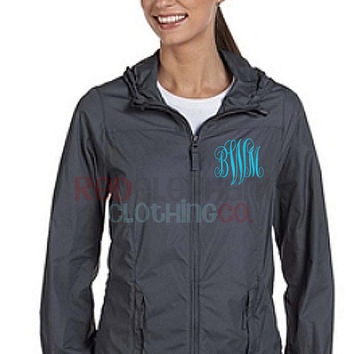 Monogrammed Rain Jacket, Monogrammed Rain Coat, Monogrammed Full Zip Jacket, Monogrammed Jacket, Rain gear, Personalized, Ladies, Hood Coat