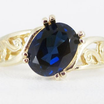 Blue Sapphire 14k Yellow Gold Oval Filigree Ring, Solid 14 Karat Gold Ring, September Birthstone Ring, Blue Sapphire Oval Ring, 14k Ring