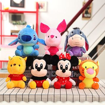 Disney  Winnie The Pooh Mickey Mouse Minnie Stitch  Doll Stitch Lilo and Stitch Plush Toy Doll 20cm Birthday Gift For Children