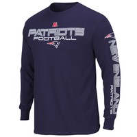 New England Patriots Primary Receiver III Long Sleeve T-Shirt - Navy Blue