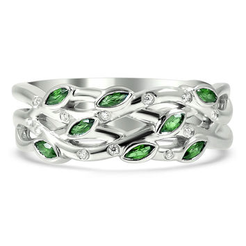 Wedding Band - Trio Floral Marquise Green Wedding Ring