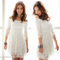Chic Womens 3/4 Sleeve White Off-shoulder See-through Lace Casual Mini Dress Top