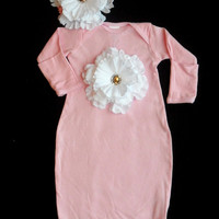 Take Me Home Outfit ..infant  Gown Layette Flower with Headband Gift Set
