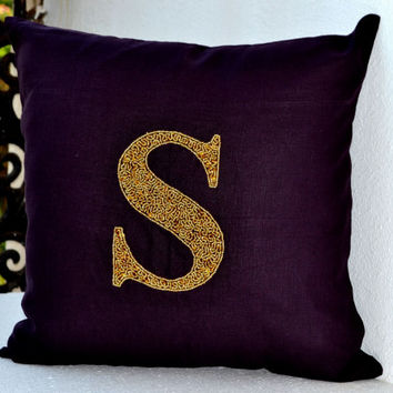 Monogram Pillow - Gold sequin cushion -Purple Linen pillow - 16X16 accent cushion -Decorative linen pillow -gift bead pillow- Initial pillow