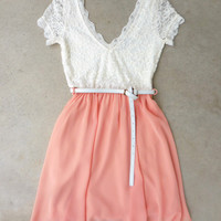 Lace & Peach Dress [7192] - $34.00 : Feminine, Bohemian, & Vintage Inspired Clothing at Affordable Prices, deloom