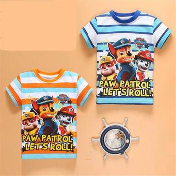 2 types kids t-shirts pure cotton baby boys&girls t-shirts PAW PATROL boys&girls tee tops for kids 4-7Y striped children clothes
