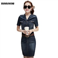 2017 Women Denim Dress Slim Casual Party Club Work Office Jeans Women Dresses Plus Size Ladies Robe Vestidos