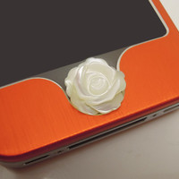 1PC Natural White Shell Rose Flower iPhone Home Button Sticker Charm for iPhone 4,4s,4g,5,5c Cell Phone Charm Valentine Gift