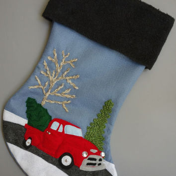 Truck Car Christmas Stocking - Me and My Red Truck