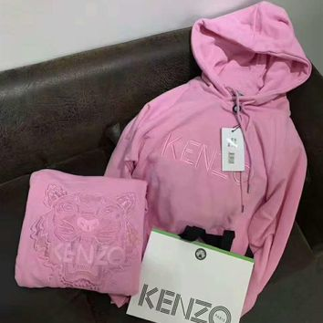 KENZO Fashion Unisex Graffiti Monogram Print Cotton Long Sleeve Hooded Sweater G-A-GHSY-1-2