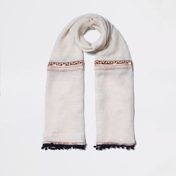 Cream neon embellished trim long scarf - Scarves - Accessories - women