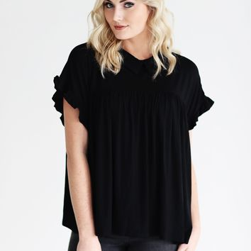 Black PIKO Collared Ruffle Sleeve Babydoll Top
