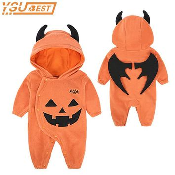 Halloween Baby Boy Girls Performance Clothing Pumpkin Jumpsuits Hooded Toddler Newborn Halloween Costume Jumpsuit Infant Clothes