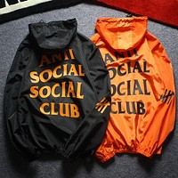 Anti Social Social Club Woman Men Fashion Zipper Hooded Sport Cardigan Jacket Coat Windbreaker