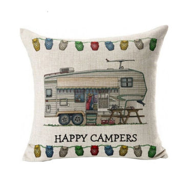 Happy campers Pillow Case Waist Throw Pillow Cover Home Case vintage Color usually Decorative dekorative kissen hund &WL11