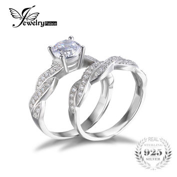 JewelryPalace Infinity Simulated Diamond Anniversary Promise Wedding Band Engagement Ring Bridal Set 925 Sterling Silver Jewelry