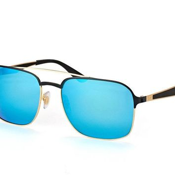 NEW RAY-BAN UNISEX RECTANGLE SUNGLASSES BLUE MIRROR LENS WITH GOLD/BLACK FRAME
