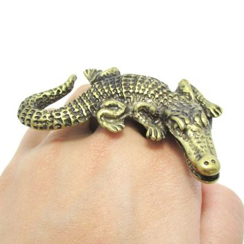 Large Crocodile Alligator Animal Double Finger Statement Ring in Brass | Size 9