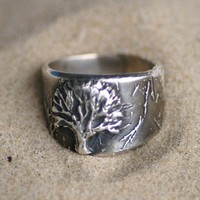 Tree of Life Silver Ring - Sizes 5 1/2 through 8 1/2 - Made to Order