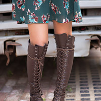 Baltimore Over The Knee Lace Up Boots (Brown)