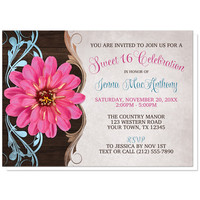 Sweet 16 Invitations - Rustic Country Girl Pink Zinnia