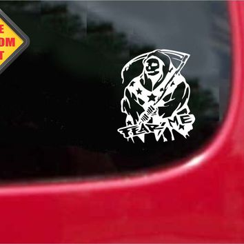 Fear Me Grim Reaper Confederate Sticker Decal 20 Colors To Choose From.