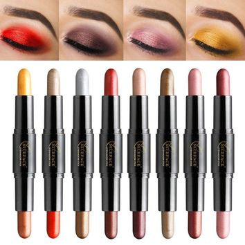 Niceface dual head eyeshadow pencil 2 colors diamond gold rose red shimmer eyeshadow creamy makeup metallic eyeshadow pen AE065