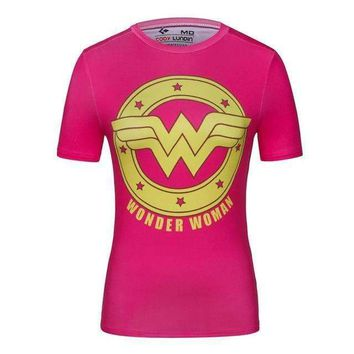 Pink Wonderwoman Superhero Short Sleeve Compression Rashguard