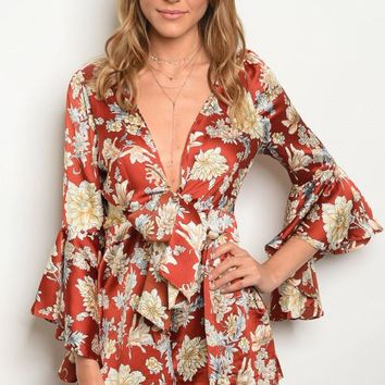 Belle Sleeve Affair, Rust And Floral Romper
