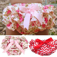 New Baby underwear Ruffled Bloomer PP Pants Kids Girl Skirt Diaper Cover Culotte Pantskirt = 1946456708