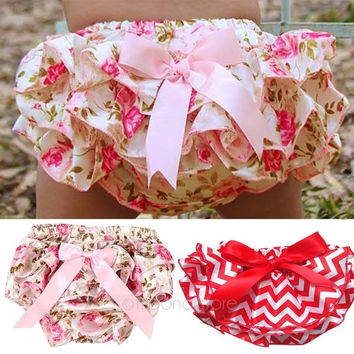 New Baby underwear Ruffled Bloomer PP Pants Kids Girl Skirt Diaper Cover Culotte Pantskirt = 1946256196