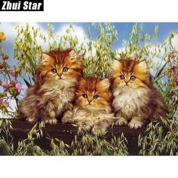 5D Diamond Painting Three Fluffy Kittens Kit