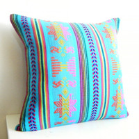 Geometric Decorative Pillow. Tribal. Aztec. Bright. 14x14 Inch. Turquoise Blue