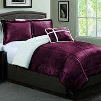 Geneva Home Fashion 4-Piece Micro Sherpa Comforter Set, Queen, Red