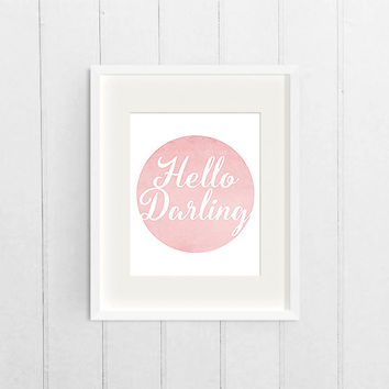 Pink Circle Printable Poster, Hello Darling Girls Room Decor, Baby Girl Nursery, Home Decor Wall Art, Digital Download Art, Printable Poster