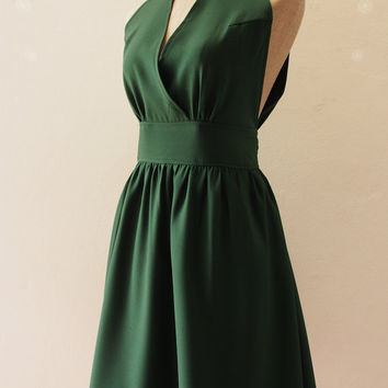 Forest Green Dress Green Bridesmaid Dress Christmas Dress High Neck Elegant Wedding Party Dress, Green Prom Evening Dress - XS-XL,custom