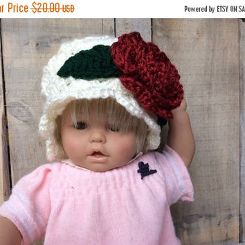 On SALE LIMITED TIME Christmas Crochet hat for baby girl,  baby girl's cloche hat with brim trimmed with a deep red flower,  washable hat, h