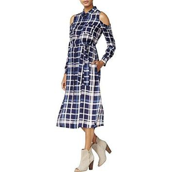 Maison Jules Womens Plaid Cold Shoulder Shirtdress