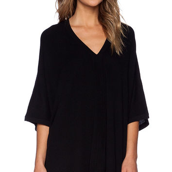 Vince V Neck Poncho in Black