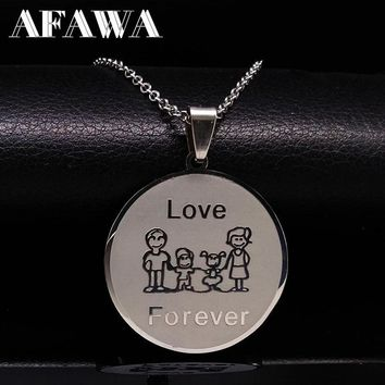 Mum Love Family Choker Necklace For Women Cute Girl Mama Stainless Steel Necklaces & Pendant Silver Color Neckless Jewelry N2409