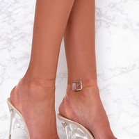 Nude Clear Strap Heeled Sandals