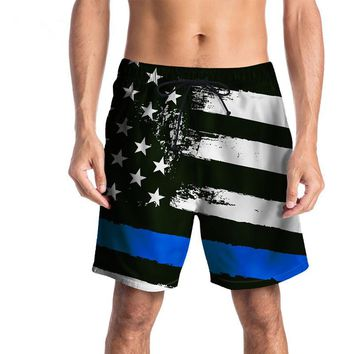Black And White American Flag With Blue Line Swimming Shorts Trunks