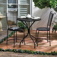 Outdoor Furniture-Bristol Black Iron 3 Piece Patio Set